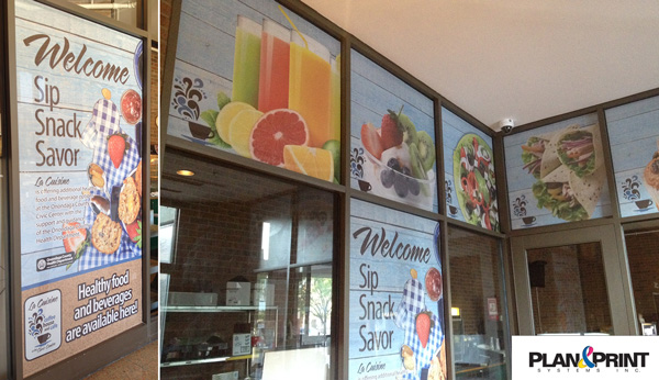 Window Graphics Display for Syracuse Cafe from Plan and Print near Syracuse NY
