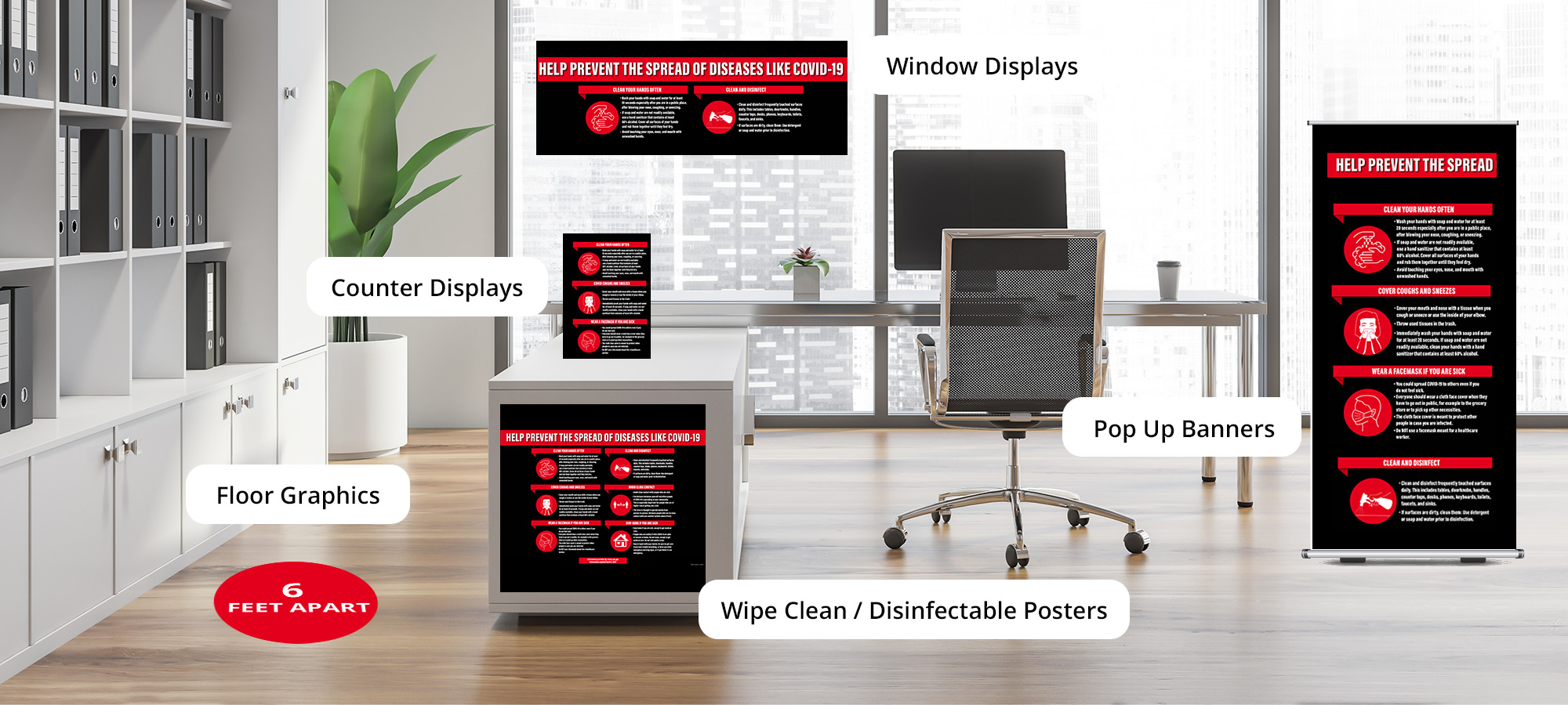 Emergency Signage Solutions durable posters, floor graphics, counter displays, window display and pop up banners syracse ny