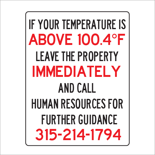 Emergency Signage Solutions from Plan and Print Temperature Sign Syracuse NY